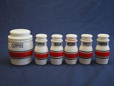 Vintage Spice Set 6 Canisters Made Italy Retro