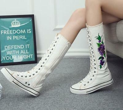 Black/White Embroidery Flower Canvas Knee High Lace Up Zip Sneakers Shoes ADE