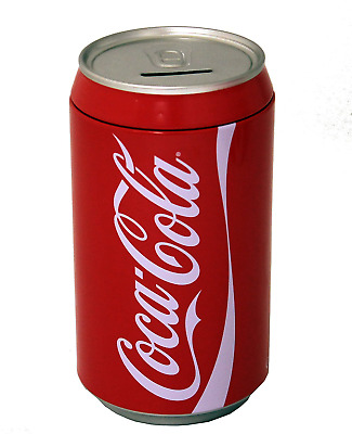 Large Coca Cola Can Piggy Bank Safe Money Coins Storage Box Removable Lid Coke