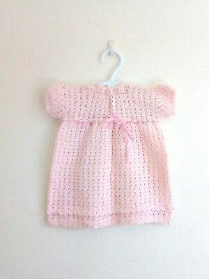 VINTAGE Handmade Knitted Baby Girl's Dress PINK 12 months Size 1