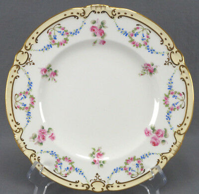 Pair of Minton Tiffany Pink Rose & Blue Floral Garlands & Gilt Luncheon Plates