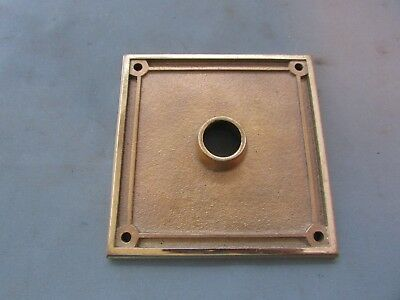 "VTG Brass Door Knob Back Plate 4"" x 4"" Square Bronze Yale Art Deco"
