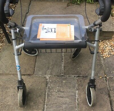 ALUMINIUM ROLLATOR Walking Frame with Seat, Tray and Integrated ...