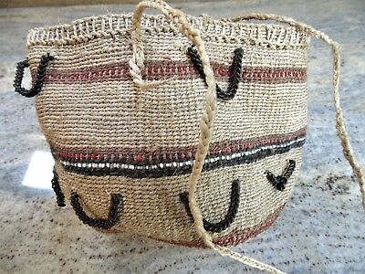 Vtg Masai African Tribal Olbene Jute Woven Money Bag Basket Purse Chain Trim
