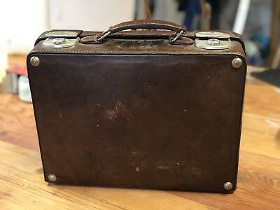 VINTAGE ORIGINAL LEATHER SING KEE & CO SUITCASE BRIEFCASE CASE LUGGAGE fantastic