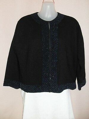 1950's Vintage Beaded Lambswool Cardigan with 3/4 Sleeves.