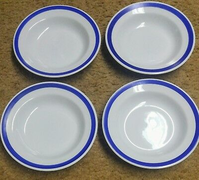 Set of 4 - Crate & Barrel Diner Blue Rimmed Soup Bowl