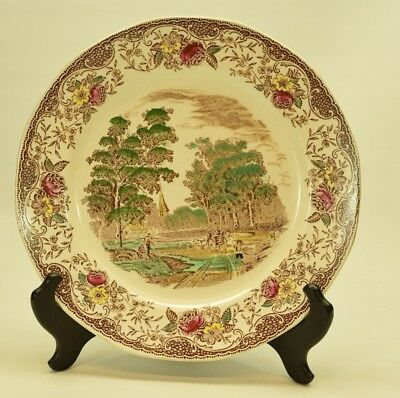 BARKER BROS ROYAL TUDOR WARE OLDE ENGLAND Dinner Plate Brown Red Green Yellow