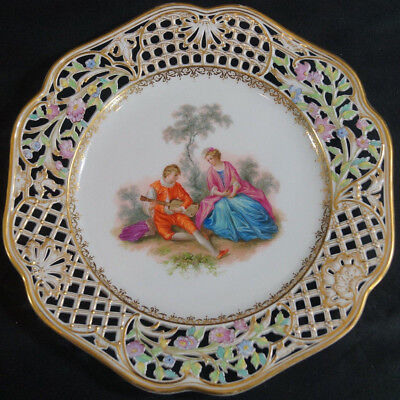 KPM Berlin Reticulated Hand Painted Courting Couple Dresden Style Plate C. 1900