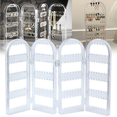 Earring Holder Display Stand Organiser Clear acrylic 4 Fold 128 Pairs Earrings
