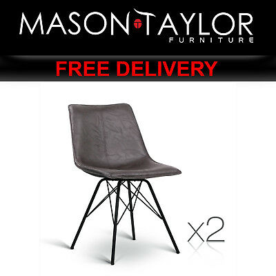 Mason Taylor Set of 2 PU Leather Kitchen Dining Chairs BA-TW-8011-BZX2
