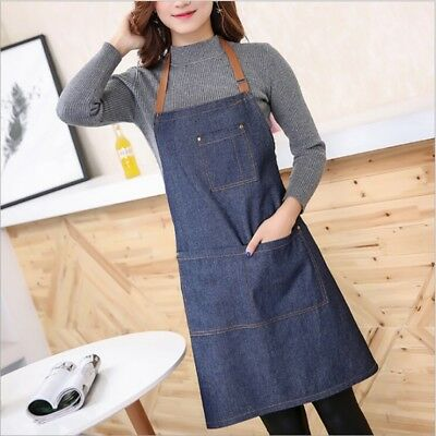 Unisex Adults Denim Blue Cooking Kitchen Restaurant Work Bib Apron Dress +Pocket