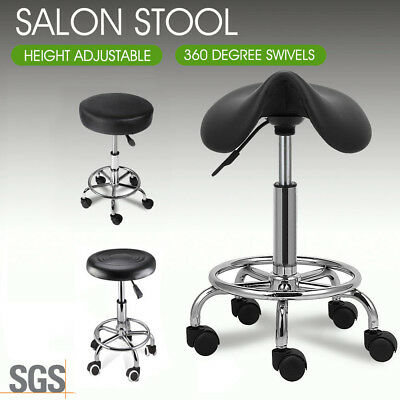 Salon Stool Hairdressing Massage Chair Black Swivel Barber Hydraulic Lift PU