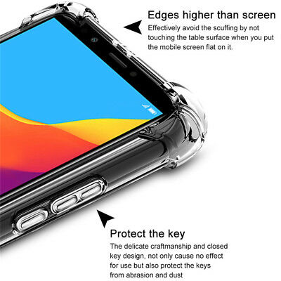 For Huawei Y6 2018 Y9 Y7 Pro Shockproof Clear Back Silicone Soft TPU Case Cover
