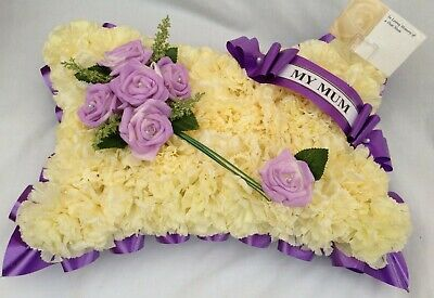 Artificial Silk Funeral Flower Pillow Memorial Tribute Personalised