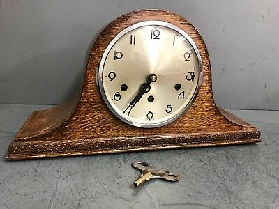 Antique 1930's Art Deco Napoleon Hat Westminster Chime Mantle Clock - Working