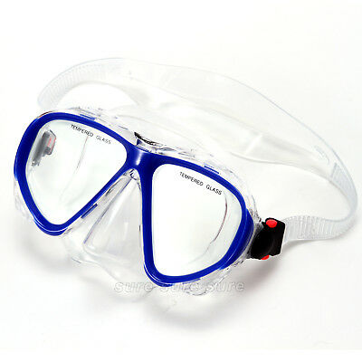 Adult unisex PVC MASK AND SNORKEL SET SEMI-DRY with Temper Glass Lenses Blue UK