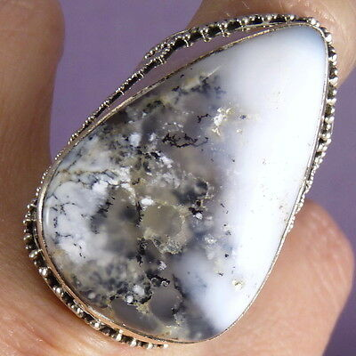 Superb XLGranulation Ring Size US 9.5 SILVERSARI Solid 925 Silver DENDRITIC OPAL