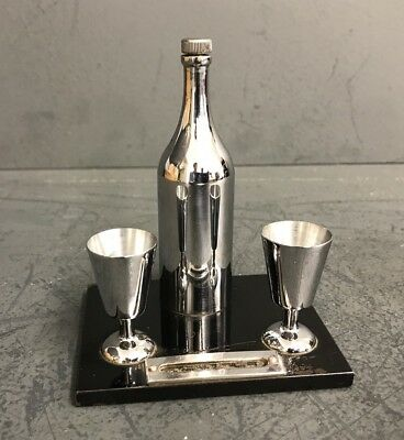 ORIGINAL ART DECO CHROME Bottle And Glass Tooth Pick HOLDER - Superb