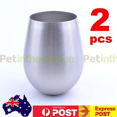 2pcs 18oz Stainless Steel Stemless Red Wine Cocktail Glasses Bar Drink Beer Cup