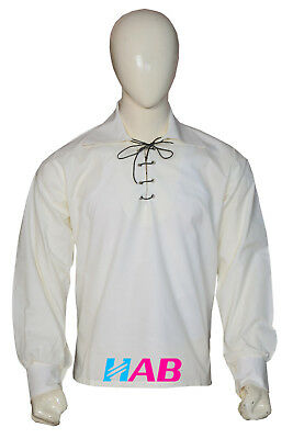 Men's Scottish Jacobite Ghillie Cream Shirt Made of 100% Cotton & Leather Cord.
