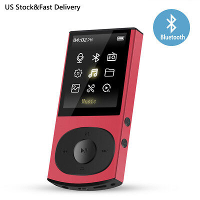 AGPTEK C3 8GB Bluetooth MP3 Player Support Shuffle FM Expandable Up to 128GB Red