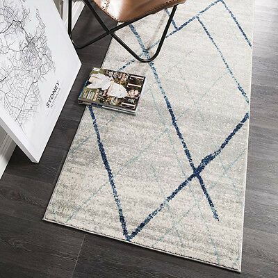 HARBOR BLUE IVORY BOHO TRIBAL DIAMOND MODERN FLOOR RUG RUNNER 80x400cm **NEW**