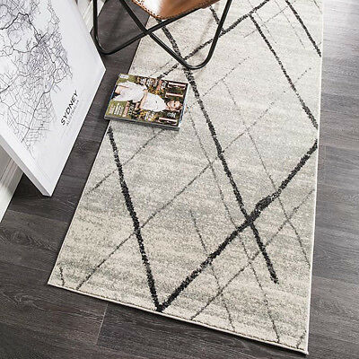 HARBOR GREY IVORY BOHO TRIBAL DIAMOND MODERN FLOOR RUG RUNNER 80x500cm **NEW**