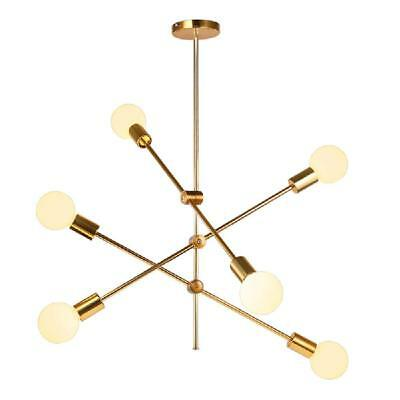 Chandelier Ceiling Pendant Light Adjustable Pipe Stem Hanging Lamp 6 Head Gold