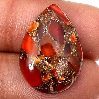 Royal Designer Carnelian Copper Mohave 12.50 Cts Pear Cabochon Gemstone s-27512