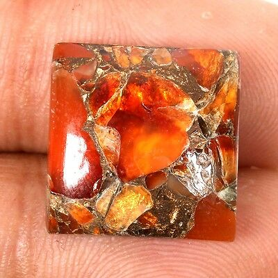 Superb 16x16mm CARNELIAN COPPER MOHAVE Square Cabochon Gemstone 13.5 Cts S-31150