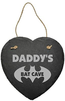 Personalised Batman Slate Plaque Sign Bat Cave Shed Man Cave Fathers Day Gift
