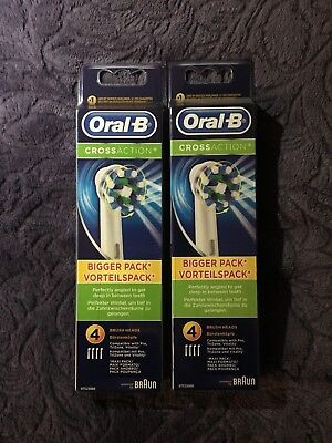 Oral-B CROSSACTION Lot 4x2 / 8 Brossettes de Rechange / Neuf / Original