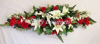 Coffin Spray Artificial Silk Funeral Flower Casket Topper Tribute Memorial