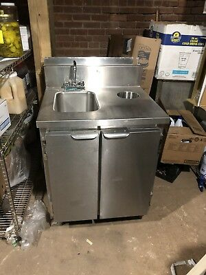 "Commercial Stainless Steel Hand Sink With 2 Door Cabinet Base, 24""x28"""
