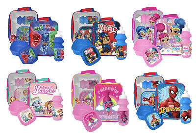 Kids Character Disney Marvel 3 Piece Lunch Bag Set Insulated Travel School Boxes