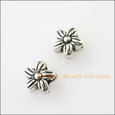 35Pcs Tibetan Silver Tone Flower Star Spacer Beads Charms 7mm