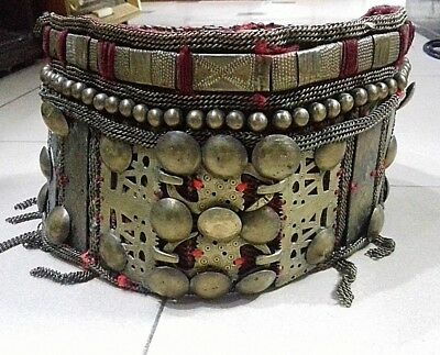 Old Antique Primitive Handmade Bronze Women Buckle Belt-Librazhdi Area-91 Cm-Rar