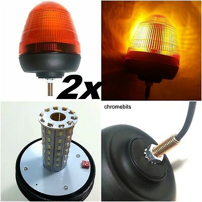 2x RECOVERY STROBE AMBER LED LIGHT ORANGE BREAKDOWN FLASHING BEACON TRUCK LORRY