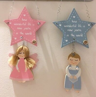 New Baby Gift Hanging Angel Star Plaques Boy or Girl
