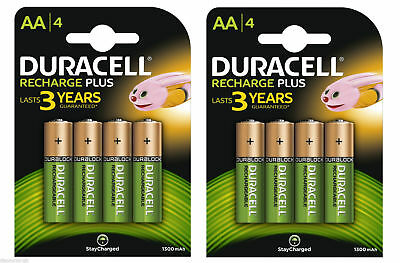 Duracell AA 1300mAh PreCharged Rechargeable Batteries  2 x Packs of 4