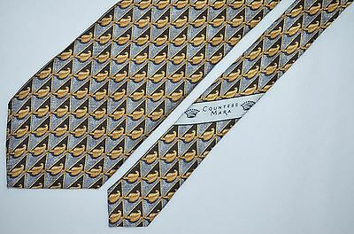 Countess Mara Blue/brown Yellow Gold Leaves All Silk Hand Made In Italy Necktie