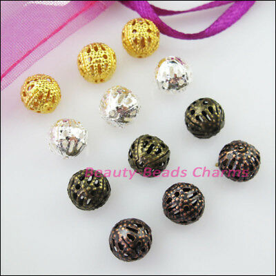 50Pcs Round Filigree Spacer Beads Charms 10mm Gold Silver Bronze Plated