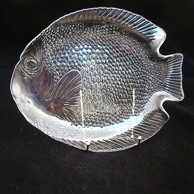"Arcoroc POISSON CLEAR Fish Dinner Plate(s) 10 1/4"" x 8 1/2"" EXCELLENT"