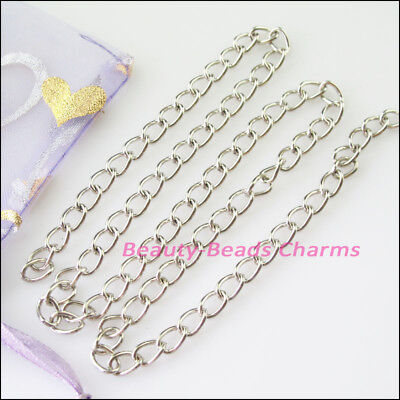 2M Thickness 5mm Oval Turn-Rings Chains Fit Making Necklace Dull Silver Plated
