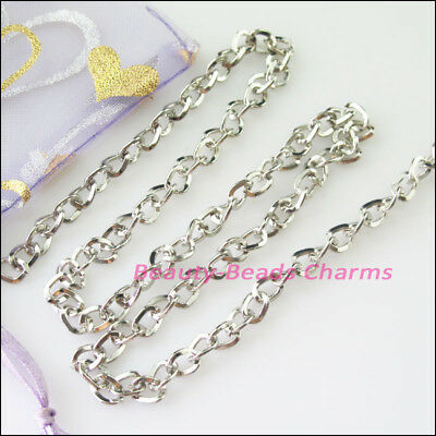 2M Thickness 5mm Turn-Rings Chains Fit Making Necklaces Dull Silver Plated