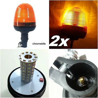 Two Recovery Strobe Amber Led Light Orange Breakdown Flashing Beacon Truck Lorry