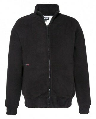 Schott NYC Mens Zip Sweater Bomber Jacket Black Size S (Small) BNWT Fleece Lined