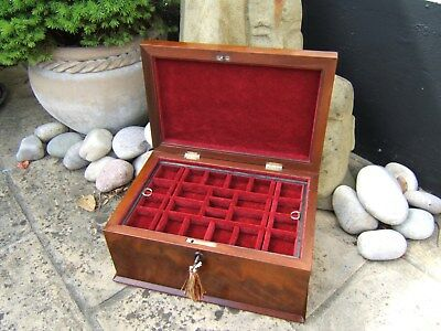 Superb Early 19C Flame Mahogany Antique Inlaid Jewellery Box - Fab Interior