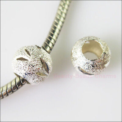 10 Silver Plated Round Stardust 5mm Hole Beads fit European Charms Bracelet 10mm
